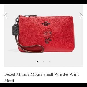 NWT Coach X Minnie Mouse Wristlet With Box